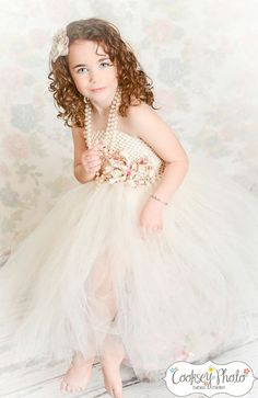 Newborn - Size 8 Ivory Floral Bow Flower Girl Tutu Dress (Add 8.00 listing to cart with this for 6-8 year size). $35.00, via Etsy.