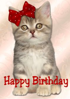 Cute Kitten Happy Birthday in Card Creator Gallery Birthday Msgs, Happy Birthday Art, Birthday Poems, Happy Birthday Friend, Cute Birthday Cards, Happy Birthday Messages, Cat Birthday, Happy Birthday Images, Happy Birthday Greetings