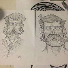 Tumblr character designs geometric lines.