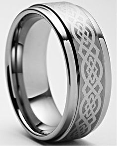 Black Tungsten Carbide Celtic Knotwork Ring 8mm Wedding Band Anniversary Ring for Men and Women Size 7