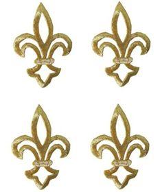 "[4 Count Set] Custom and Unique (1 1/4"" by 1 3/4"" Inches) Fancy Fleur-De-Lis Set Iron On Embroidered Applique Patch {Gold Color}"