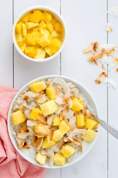 Cooking the oatmeal in coconut milk gives this bowl a subtly sweet flavor and extra-creamy texture. Topped with mango and toasted coconut flakes, each bite gets you one step closer to the Tropics. Get the recipe from Delish. - Delish.com