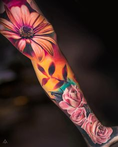 the best full sleeve tattoos Colorful Sleeve Tattoos, Colorful Flower Tattoo, Full Sleeve Tattoos, Cover Up Tattoos, Lotus Flower, Tattoos Skull, Body Art Tattoos, Ink Tattoos, Tattoos Pics