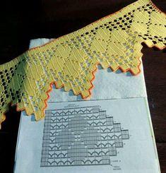 Patterns and motifs: Crocheted motif no. Filet Crochet, Crochet Lace Edging, Crochet Borders, Crochet Doilies, Crochet Baby Dress Pattern, Crotchet Patterns, Love Crochet, Lace Knitting Stitches, Crochet Curtains