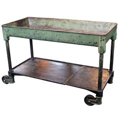 Ordinaire Vintage Industrial Metal Cast Iron Machine Rolling Bar Cart, Table, Sink |  From A Unique Collection Of Antique And Modern Carts And Bar Carts At ...