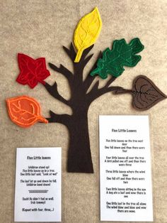Felt Stories are a creative way to share story time with your child. This Fall leaf felt story comes with a tree and five moveable coloured leaves to encourage colour identification and counting numbers 1-5. Each felt story comes in a resealable bag along with a laminated story,poem or verse. Felt stories make great gifts. Perfect for children, parents, babysitters, day home providers, and early childhood educators. Flannel Board Stories, Felt Board Stories, Felt Stories, Flannel Boards, Preschool Music, Fall Preschool, Preschool Activities, Japanese Language, Spanish Language
