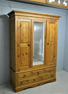 Large Pine Wardrobe With Drawers and Mirror Can Be Dismantled Delivery Available