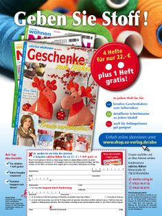 Neuentwicklung der #Abowerbung für die #Zeitschrift Sabrina Nähen: #Werbemittel 1/1-Abo-Anzeige, Heftwerbung, Angebot: #Jahresabo plus 1 Heft gratis, Response-Aktivierung über #Coupon und Deeplink  I © Montana Medien, Hamburg - Dezember 2013 I Bestellen Sie das #SabrinaNähen unter: www.shop.oz-verlag.de/abo  #Direktmarketing, #Print, #Verlage, #CRM, #Dialogmarketing, #Abomarketing, #Aboanzeige, #OZ-Verlag, #Montana Medien BERATUNG + #AGENTUR