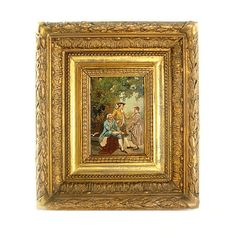 Antique Painting Oil on Board Gilt Frame 1800s by ElegantArtifacts, $1200.00