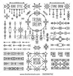 Boho elements set. Bohemian style arrows, native ornament stripes. Folk geometric dividers, ethnic borders, stylized dream catcher. Indian tribal collection of simple linear art. Native tattoo sketch.