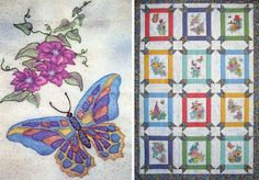 Butterfly Garden quilt via Black Cat Creations ~ CRAYON COLORING EMBROIDERY