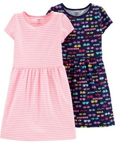 Always have an extra dress on hand with this dress set. One with cool stripes, the other slogans and graphics! Girls Formal Dresses, Dresses Kids Girl, Cute Girl Outfits, Cute Outfits For Kids, Little Girl Fashion, Toddler Fashion, Kids Fashion, Blouse Styles, Outfit Sets