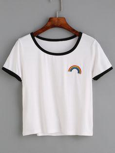 Camiseta bordado iris ribete en contraste - blanco