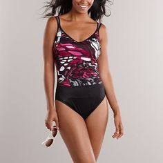 Croft & Barrow® Fit For You Tummy Slimmer Splatter One-Piece Swimsuit