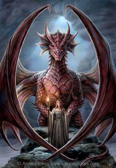 Red Dragon and Girl | Dragon with Girl