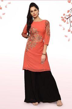 orange desiner real georgette party wear kurti 6758