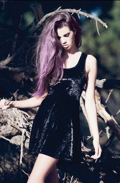 I really like the lavender hair. It softens grunge looks and makes it more fun.