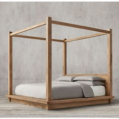 Reclaimed Russian Oak Four-Poster Bed (77 095 ZAR) ❤ liked on Polyvore featuring home, furniture, beds, oak bed, hand made furniture, oakwood furniture, oak wood furniture and restoration hardware bed