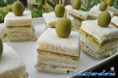 Appetizer Sandwiches, Party Sandwiches, Appetizers, Fingers Food, Mani, Antipasto, Afternoon Tea, Italian Recipes, Feta
