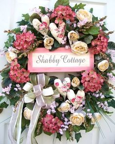 Library Slideshow by Shabby Chic Hearts, Shabby Chic Wreath, Shabby Chic Cottage, Valentine Wreath, Valentine Ideas, Vintage Easter, Easter Wreaths, How To Make Wreaths, Door Wreaths