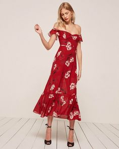 long spring dress from reformation clothing brand