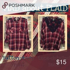 Plaid & Lace Shirt This plaid button-down shirt is accented with lace detailing on back. Takes a simple plaid shirt from ho-hum to WOW! 😍 Looks great paired with jeans and boots. Sleeves may be worn up or down (shown in photo). Size Large in gently used condition. Smoke-free home. Dress Barn Tops Button Down Shirts