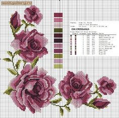 This Pin was discovered by Ilk Cross Stitch Rose, Cross Stitch Borders, Cross Stitch Flowers, Cross Stitch Charts, Cross Stitch Designs, Cross Stitching, Cross Stitch Embroidery, Embroidery Patterns, Hand Embroidery
