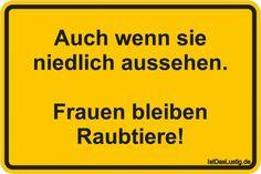Auch wenn sie niedlich aussehen. Frauen bleiben Raubtiere! ... gefunden auf https://www.istdaslustig.de/spruch/1612 #lustig #sprüche #fun #spass