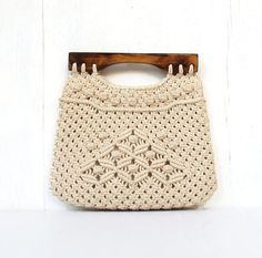 vintage folk macrame handbag purse philippines burmuda purse with wood handles BEACHES. $16.50, via Etsy.