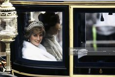 Princess Diana, Princess of Wales on her way to the State Opening of Parliament with Princess Anne on November 04 1981 in London, England. She is travelling in the Glass Coach used for her wedding.