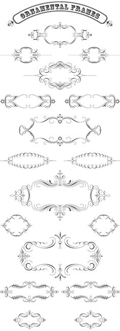 Luxurious Flourishes Vector Pack - 543 Vector Ornaments, 179 decorative Frames to create Vintage Designs