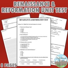 Renaissance and Reformation Unit Test / Exam / Assessment provides a variety of 46 multiple choice, matching and true/false questions. Included are 3 extended essay response questions. Modern World History, European History, Social Studies Resources, Teaching Resources, Renaissance And Reformation, Test Exam, History Teachers, Teacher Blogs, Multiple Choice