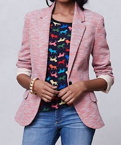 Transition from winter to spring with this chic T-shirt fabric blazer.