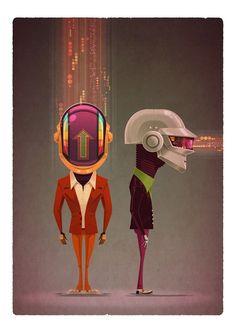 Daft Punk, de James Gilleard, parte del Daft Punk tribute art show, ReDiscovery