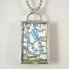 Winnepeg Vintage Map Pendant Necklace by XOHandworks $20
