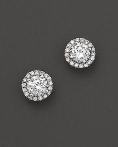 New Halo Diamond Stud Earrings in 14K White Gold, 1.0 ct. t.w. | Bloomingdale's