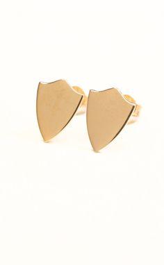 14k shield earrings by Ex Voto Vintage Jewelry