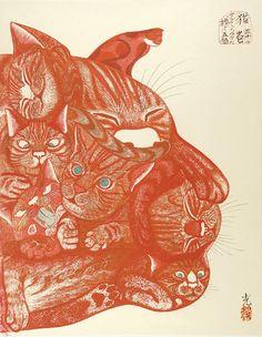 """Dedicated to Arcimboldo"" series / Cats by Tsuruya Kokei    〈アルチンボルドに捧ぐ五題〉の内 猫 弦屋光溪"