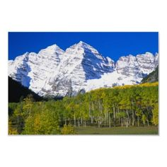 Maroon Bells with autumn aspen forest. Print by danitadelimont