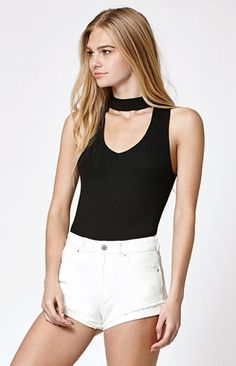 Mock Neck Cutout Tank Top