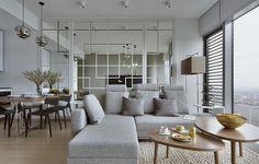 Schon Wohnungseinrichtung Ideen Wohnzimmer Spiegelwand  Graues Ecksofa Holz Couchtische