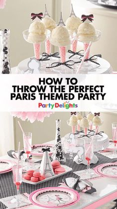 Then this Paris party theme is for you! Read on for all our Paris party ideas including Parisian party decorating ideas, French food ideas and more. Perfect for a French-themed party, birthday or hen do party theme. Paris Themed Birthday Party, 13th Birthday Parties, 10th Birthday, Paris Birthday Themes, Spa Birthday, Grad Parties, Paris Party Decorations, Birthday Party Decorations, Birthday Ideas