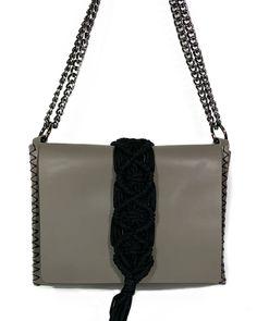 """Vanity"" grey leather & macrame bag Grey Leather, Leather Bag, Macrame Bag, Hand Stitching, Ss, Vanity, Shoulder Bag, Chain, Detail"