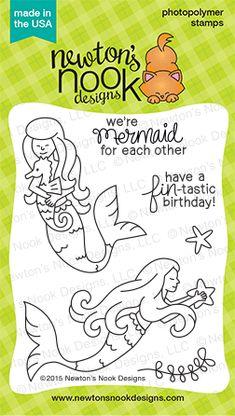 Mermaid Crossing   3x4 Photopolymer Stamp Set   Newton's Nook Designs $7.99 http://www.newtonsnookdesigns.com/mermaid-crossing/