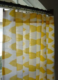 Yellow and white ikat curtains