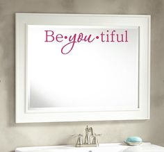 Beyoutiful Vinyl Wall Decal, Mirror Decal, Salon Decor, Vinyl Words, Bathroom Bedroom Decal, Sticker, Beautiful. Everyone could use a little reminder every day that you are Beyoutiful! This vinyl decal is great for mirrors, walls and more. LOTS of colors and sizes. Hand made in the USA. Stop by my Etsy shop for unique designs and gifts!