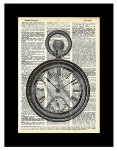 Pocket Watch Steampunk  Art altered art dictionary page illustration book print Buy 3 get 1 FREE