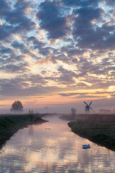 A misty morning near the Noorder windmill, Groningen, the Netherlands. Love netherland.