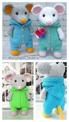 Crochet Dolls Free Patterns, Crochet Amigurumi Free Patterns, Crochet Blanket Patterns, Free Crochet, Crochet Mouse, Crochet Teddy, Crochet Baby Boots, Crochet Projects, Stuffed Toys Patterns