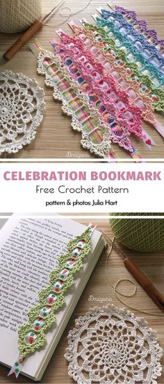 Celebration Bookmark Free Crochet Pattern – The Best Ideas Crochet Bookmarks, Crochet Books, Crochet Home, Thread Crochet, Crochet Gifts, Filet Crochet, Crochet Motif, Crochet Stitches, Crochet Bookmark Patterns Free